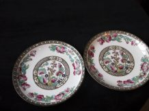 2 X SB&S ANCHOR SAMPSON BRIDGWOOD 8746a INDIAN TREE HANDPAINTED SAUCERS